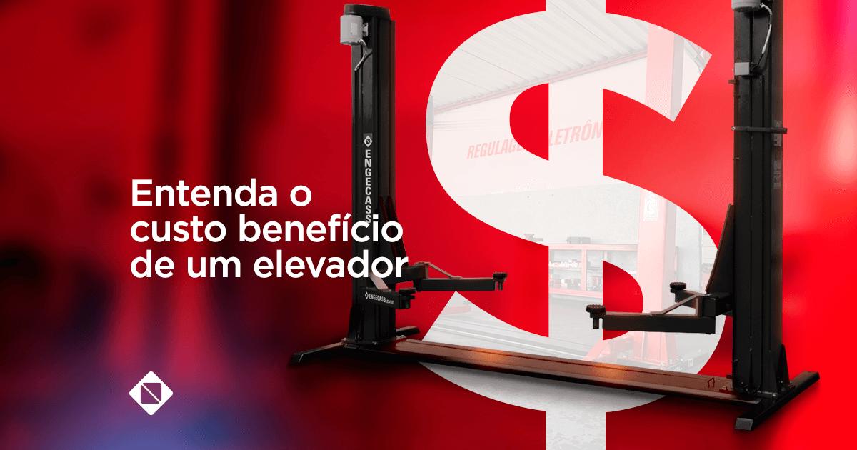 elevador automotivo - na imagem tem um elevador automotivo e um centro um cifrão de dinheiro representando o custo benefício. O fundo da imagem é vermelho.